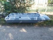 Лодка стеклопластиковая тип Романтика, новая-серый камуфляж
